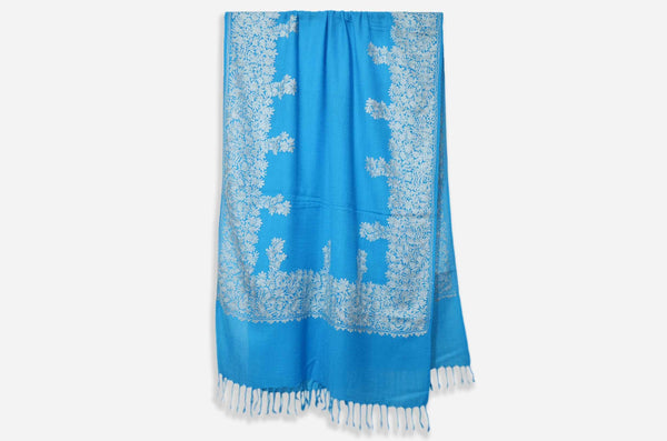 Blue Merino Wool Aari Work Scarf