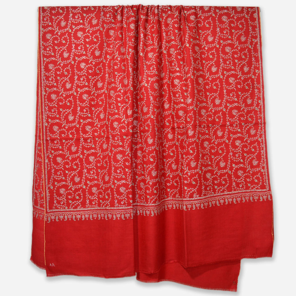 Red Jali Embroidery Cashmere Travel Wrap