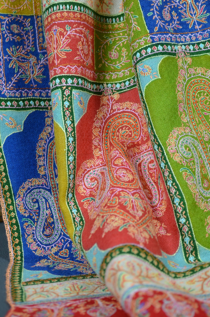 Pashmina Embroidery shawl with colorful borders