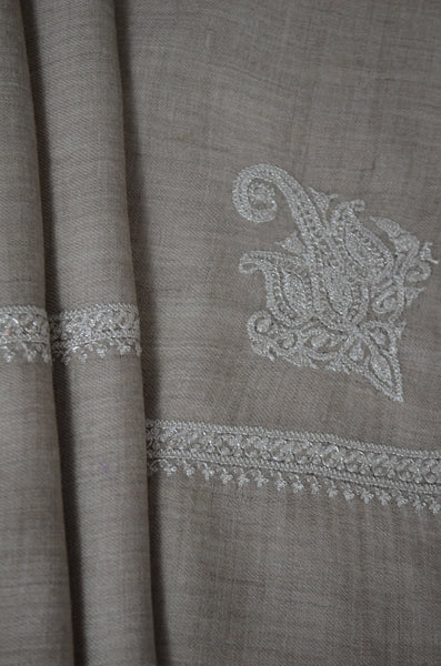 Un Dyed Taupe Tilla Embroidery Pashmina Shawl