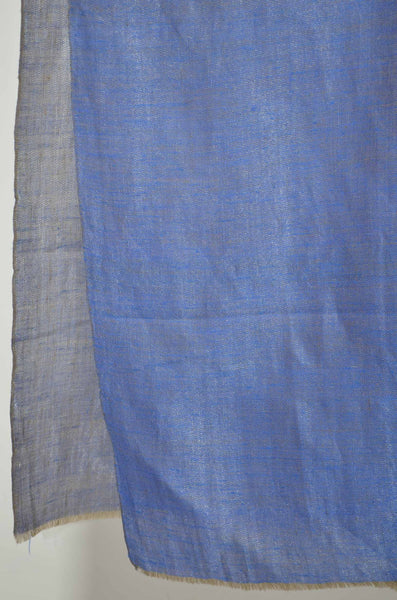 Reversible Metallic Blue and Silver Handwoven Cashmere Pashmina Scarf