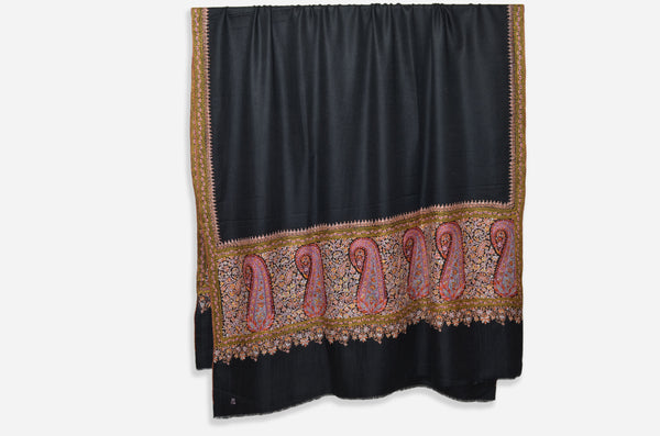 Black Cashmere Shawl with Beautiful Antique Border
