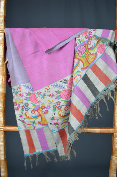 Pink and Grey Reversible Kani Pashmina Shawl