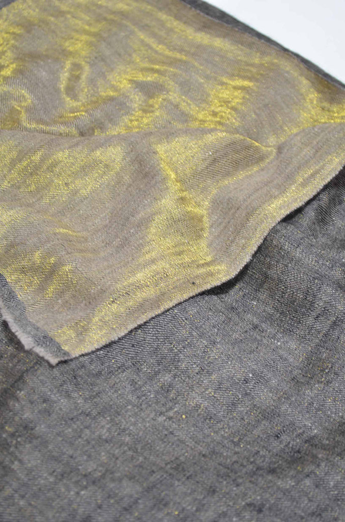 Reversible Metallic Black and Golden Handwoven Cashmere Pashmina Shawl
