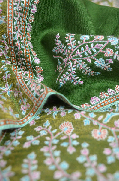 Bottle Green Big Border Embroidery Cashmere Pashmina Shawl