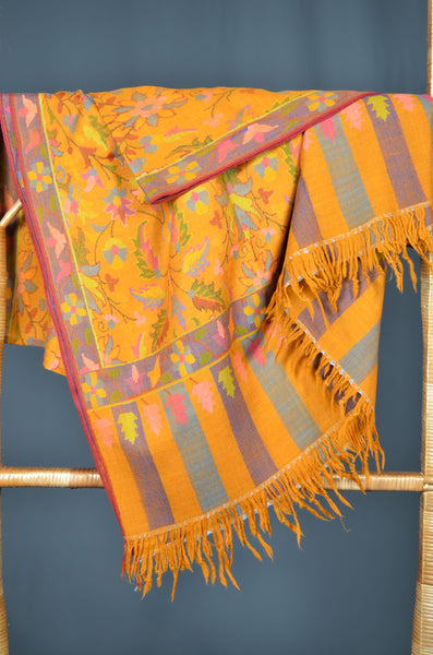 Orange Kani Jamawar Pashmina Shawl