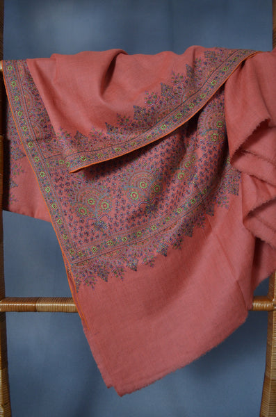 Fawn Big Border Embroidery Cashmere Pashmina Shawl