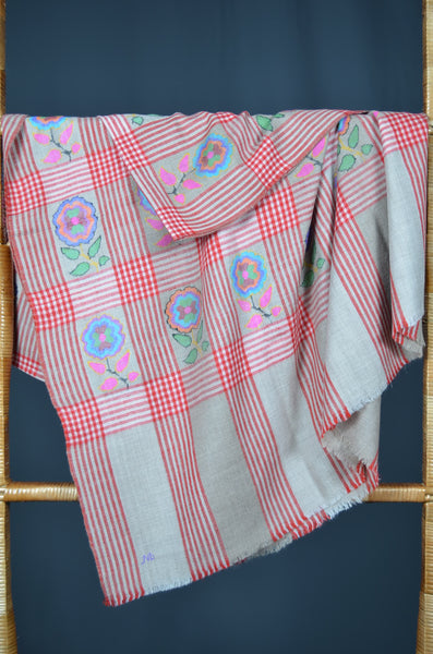 Natural Checkered Kani Motif Pashmina Shawl