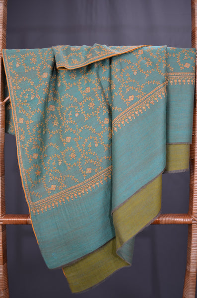 Green Reversible Jali Pashmina Shawl