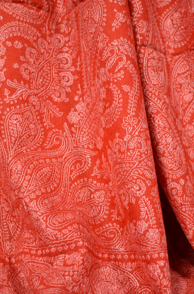 Red Jamawar Embroidery Cashmere Pashmina Shawl