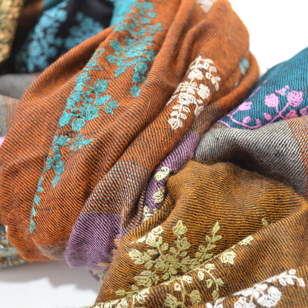 Multi Color Jali Embroidery Pashmina Cashmere Shawl