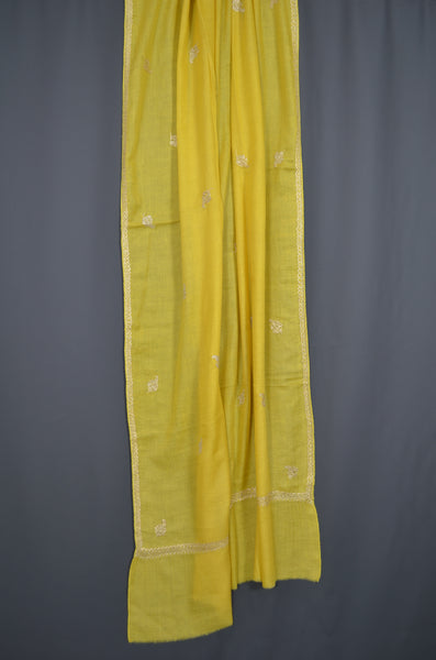 Yellow Tilla Border Embroidery Pashmina Shawl with Beautiful Motifs