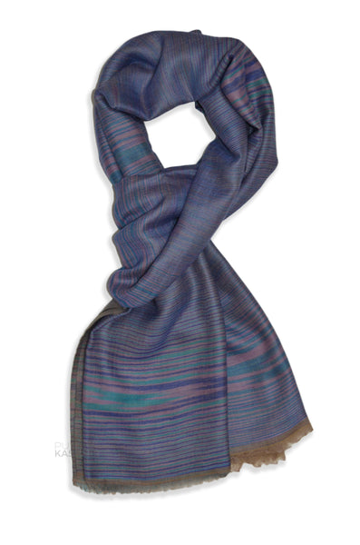 glitch woven reversible blue and natural scarf