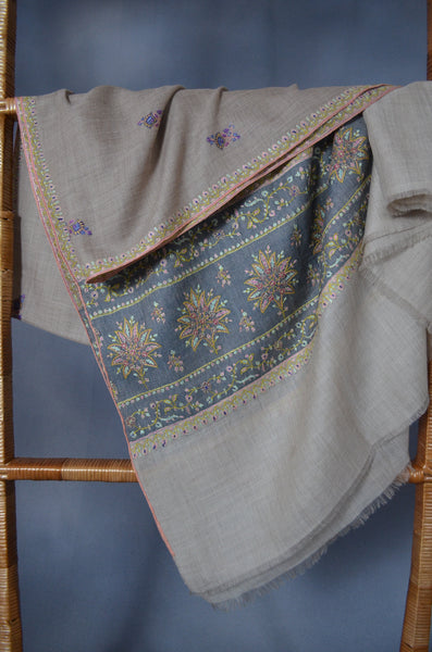 Natural Butti-Dar & Border Embroidery Cashmere Pashmina Shawl