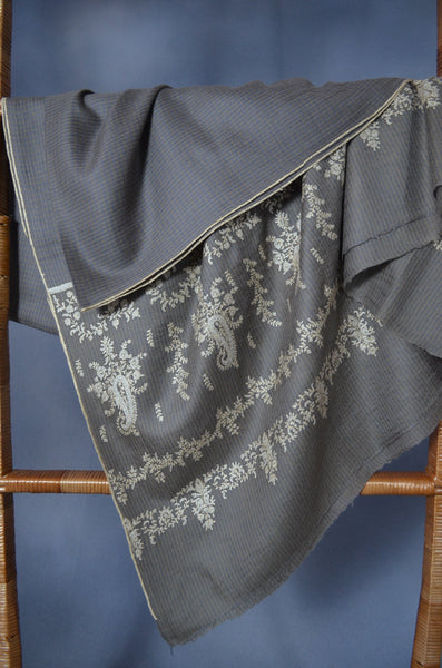 Natural & Blue Check Big Border Embroidery Cashmere Pashmina Shawl