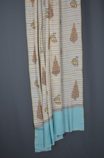 Blue Khadi patterned motif embroidery cashmere pashmina shawl