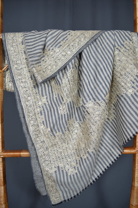 Black & White Striped Tilla Embroidery Pashmina Shawl