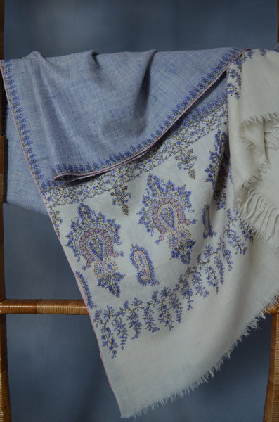 Blue and Ivory Khadi Border Embroidery Cashmere Pashmina Shawl