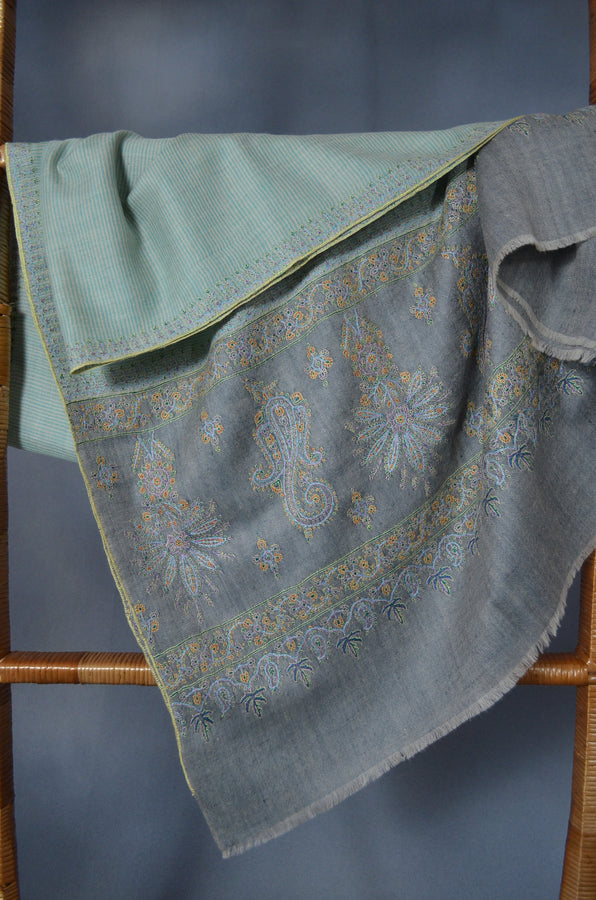Green and Ivory Khadi Border Embroidery Cashmere Pashmina Shawl