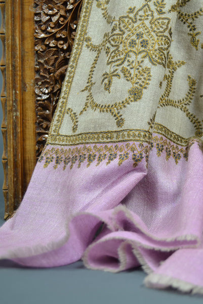 Natural Jali Embroidery Pashmina Cashmere Shawl
