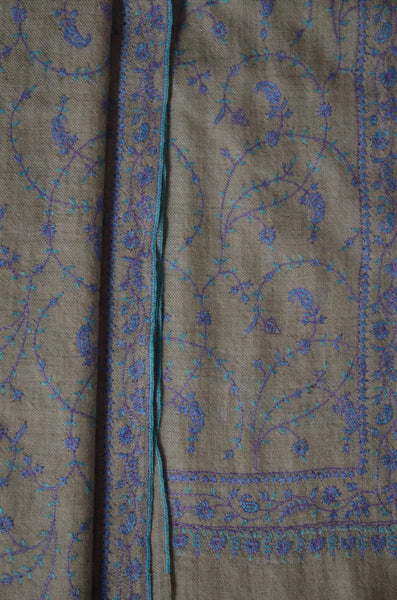 Un Dyed Natural Jali Embroidery Cashmere Pashmina Scarf