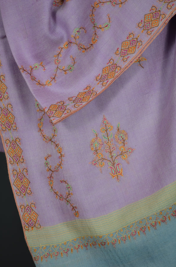 Pink Border Embroidery Cashmere Pashmina Shawl with Motifs