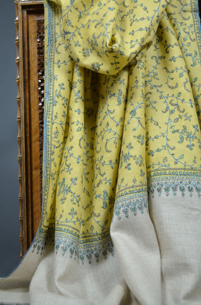 Yellow Jali Embroidery Pashmina Cashmere Shawl