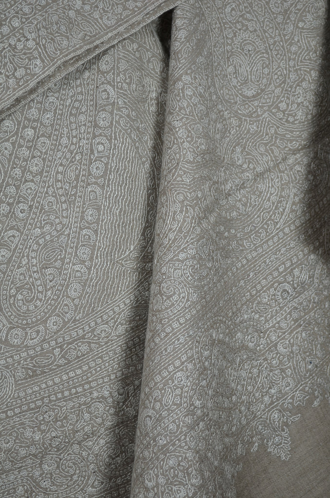 Un Dyed Natural Jamawar Embroidery Pashmina Shawl
