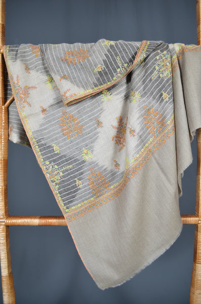 Natural Ikat Motif Embroidery pashmina shawl