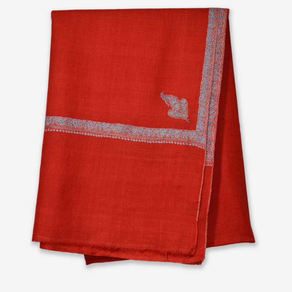 Red Sozni Border Embroidery Cashmere Pashmina Shawl