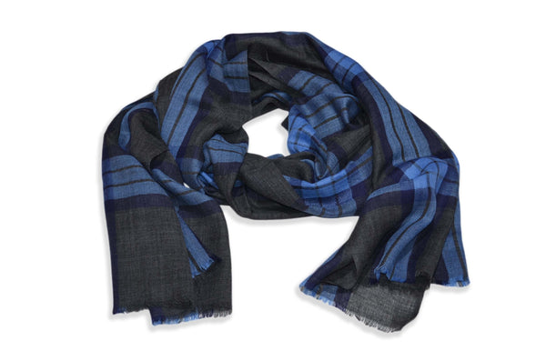 Charcoal Grey and Blue Check Merino & Silk Scarf