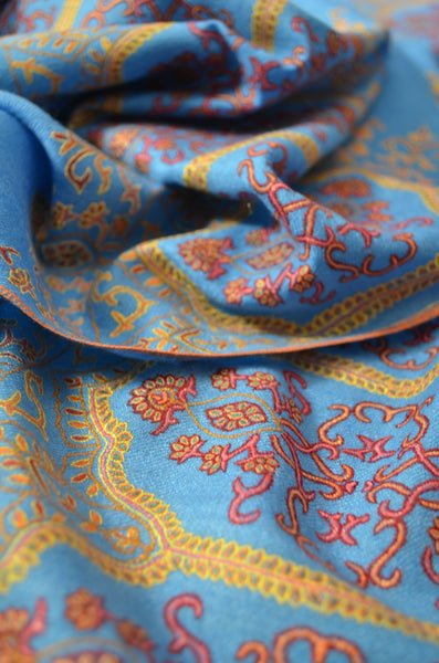 Blue Big Border Embroidery Cashmere Pashmina Shawl