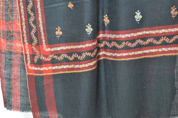 Designer Black Cashmere Scarf with Beautiful Motifs