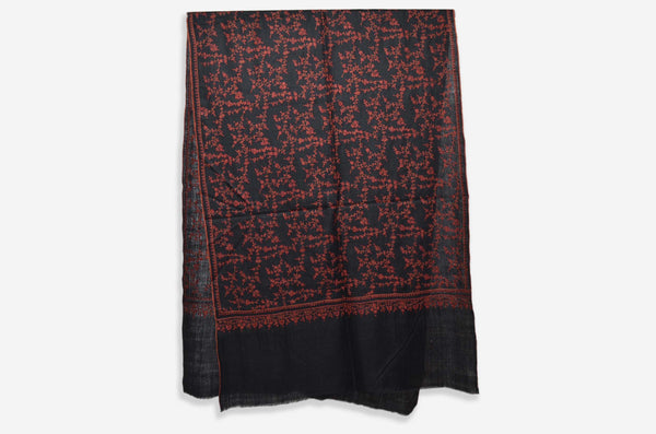 Black Cashmere Scarf with Maroon Sozni Embroidery