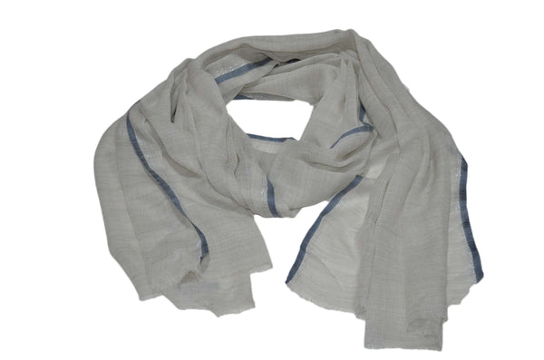 Natural Un Dyed Merino & Silk Scarf with Blue and Zari Border