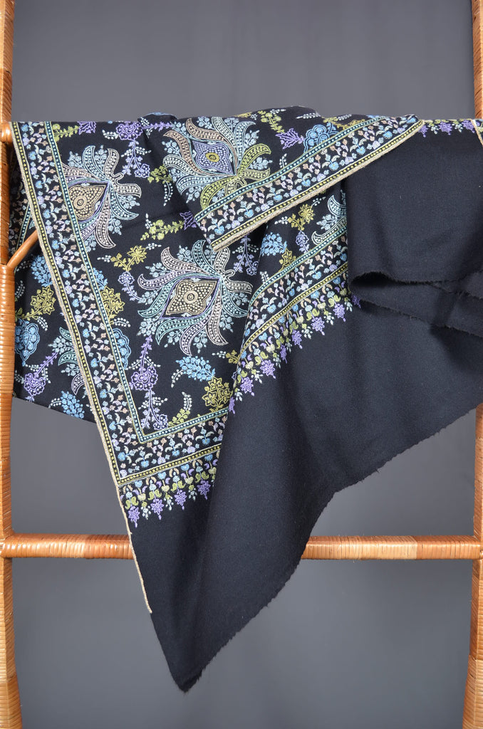 Black Jamawar Embroidery Pashmina Shawl