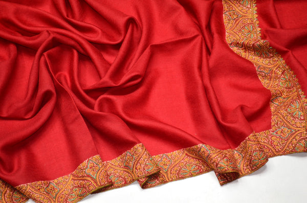 Maroon Door Dar Sozni Embroidery Shawl