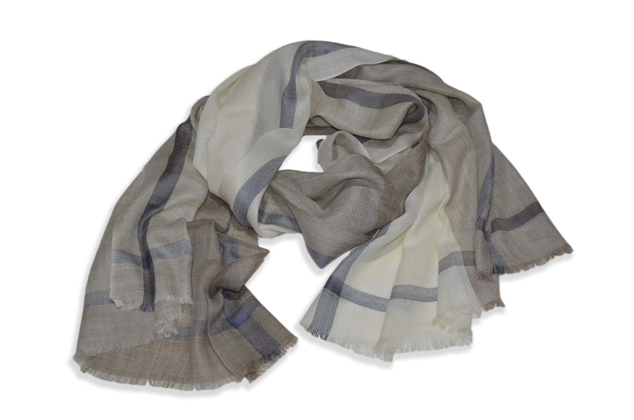 Shades of Naturals and Ivory with Silk Border Merino Scarf