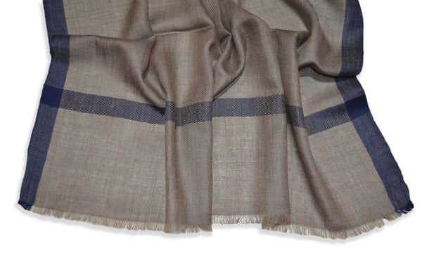 Natural Brown Merino & Silk Scarf with Navy Blue Border