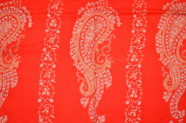 Red Jali Sozni Embroidery Shawl