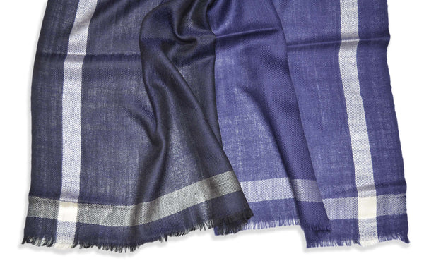 Four Shades Blue Black Silk Border Merino Scarf