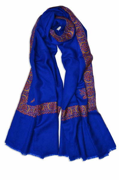 Hashi Dar Royal Blue Sozni Embroidery Shawl