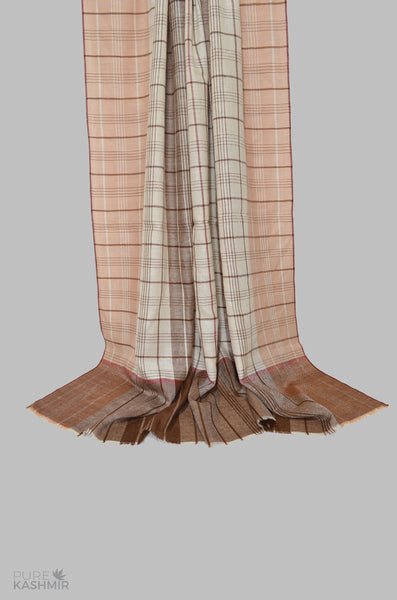Beige and Brown  Handwoven Cashmere Pashmina Shawl