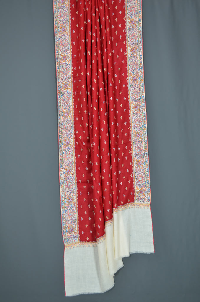Red 2.5 Yards Jamawar Embroidery Pashmina Shawl