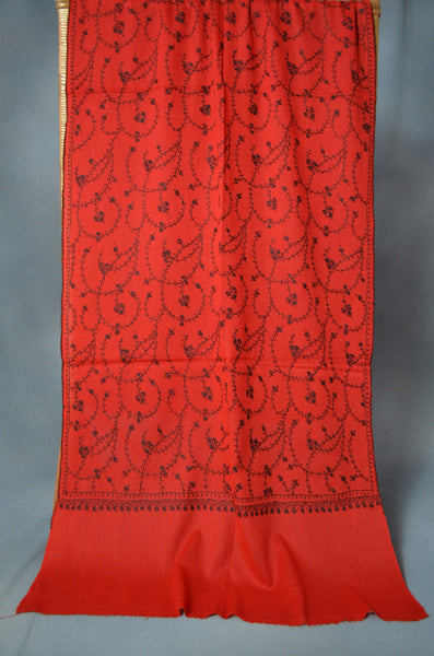 Red Jali Sozni Embroidery Merino Wool Stole