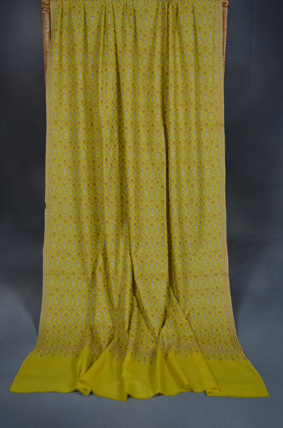Yellow Jamawar Embroidery Pashmina Shawl