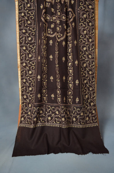 Brown Jali Sozni Embroidery Merino Wool Stole