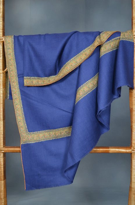 Navy Blue Border Embroidery Cashmere Pashmina Shawl