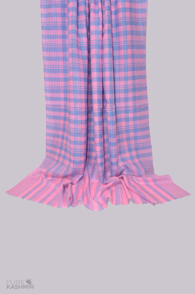 Pink and Blue Check Cashmere Travel Wrap