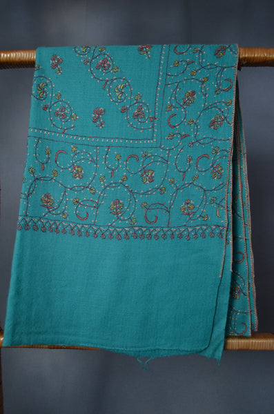 Sea Green Jali Sozni Embroidery Merino Wool Stole